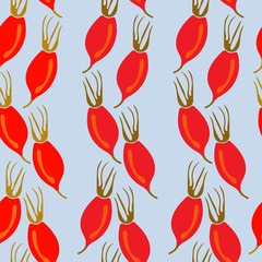 Seamless pattern with rosehip berries