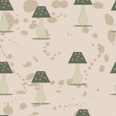 Seamless pattern with night table lamp