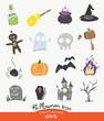 Cute Halloween icon set,halloween symbol
