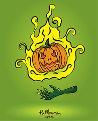 Pumpkin in fire floating on the devil hand on green background