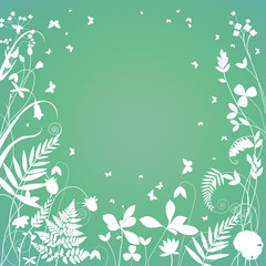White silhouettes of flowering plants on a green background