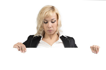 Portrait of businesswoman looking down