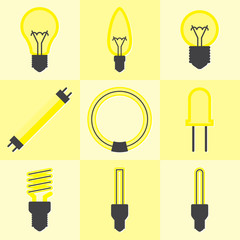 Vector of flat icon, light bulb set on isolated background