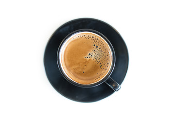 Cup of Espresso on white Table, Top View