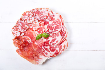plate of various ham and salami