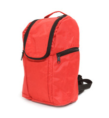 Red school backpack.