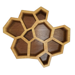 abstract empty wooden hexagonal shelf
