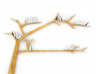 wooden branch shelf with white books isolated on white