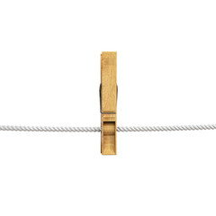 wooden clothespin hanging on rope