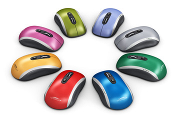 Color computer mouse arranged in circle