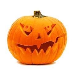 Single Halloween Jack o Lantern isolated on white