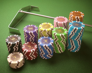Casino chips. Clipping path included.