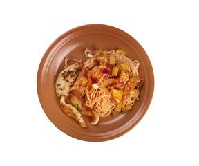 homemade spaghetti, chicken fillet zucchini