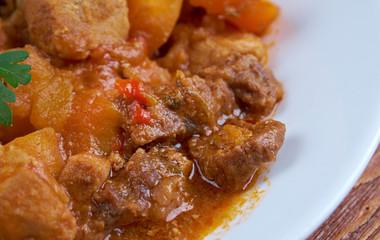 Traditional Hungarian  goulash. close up