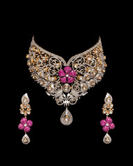 Close up of diamond necklace with diamond earring