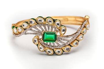 Close -up of gold and diamond bracelet