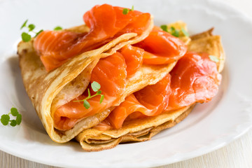 Crepes with smoked salmon