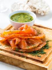 Gravadlax, Scandinavian-style smoked salmon