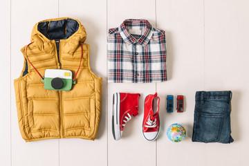 Overhead of essentials modern boy.