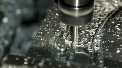 Lathe Cutting Aluminium. Close-up view.