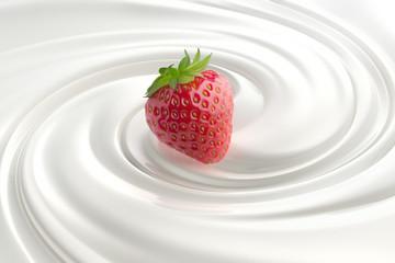 Erdbeere auf Yoghurt