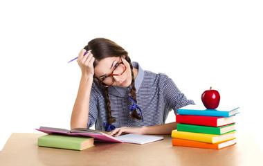 tired girl doing lessons
