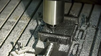 Close-up view: Lathe Processing Aluminium.