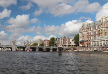 River Amstel, Bridge Hoge Sluis, embankment. Amsterdam, Holland