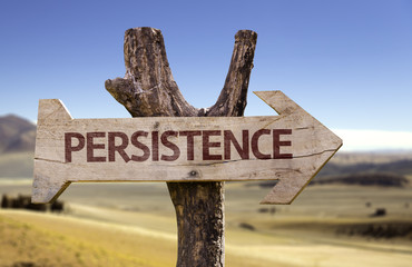Persistence wooden sign with a desert background