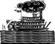 Stern wheel Riverboat in waves - 69949823