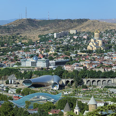 Cathedral, President Palace, Concert hall and Bridge in Tbilisi
