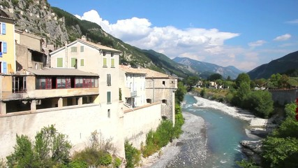 The medieval city of Entrevaux and the river Var, France