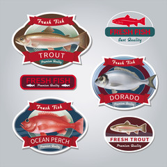 Fish labels set 3. Vector illustration.