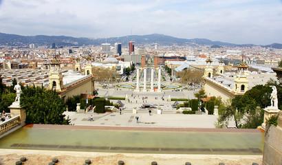 Panorámica de las fuentes de Montjuic, Barcelona