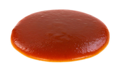 Blob of taco sauce on a white background