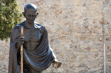 Mahatma Gandhi. The monument in Genova, Italia
