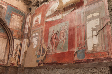 Wall painting of Neptune and Aimone in Herculaneum, Italy
