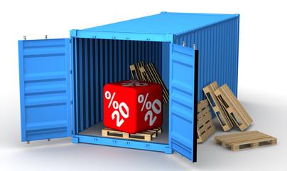 Скидка 20 процентов в открытом грузовом контейнере