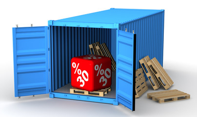 Скидка 30 процентов в открытом грузовом контейнере