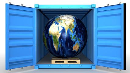 Земной шар на поддоне в открытом грузовом контейнере