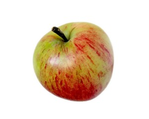 Созревшее,полосатое яблоко изолировано.