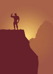 bodybuilder on mountain