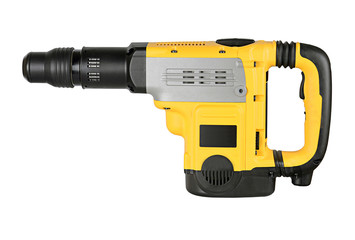professional rotary hammer with a drill on white background