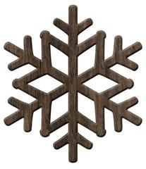 Schneeflocke aus rustikalem, dunklen Holz – freigestellt