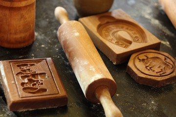 traditional wooden molds for baking Christmas gingerbread
