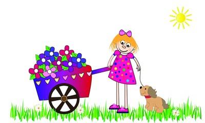 Niña con su perro y carro con flores