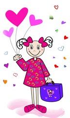 Niña alegre con globos de corazones