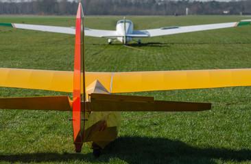 Optrekken van een zweefvliegtuig