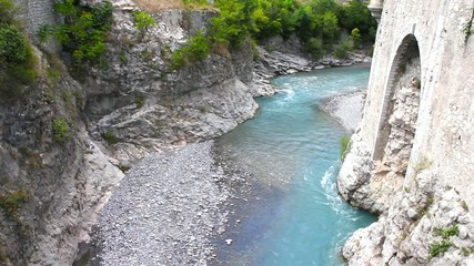 The river Var in Entrevaux, French Riviera