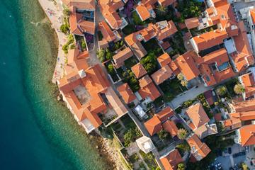 aerial view of croatia coast line Rab island